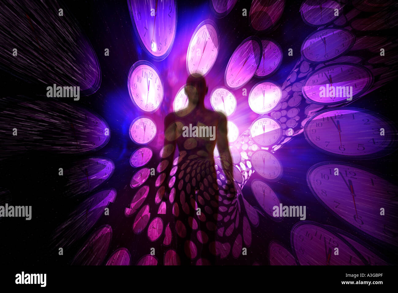 A traveller in the fourth dimension. - Stock Image