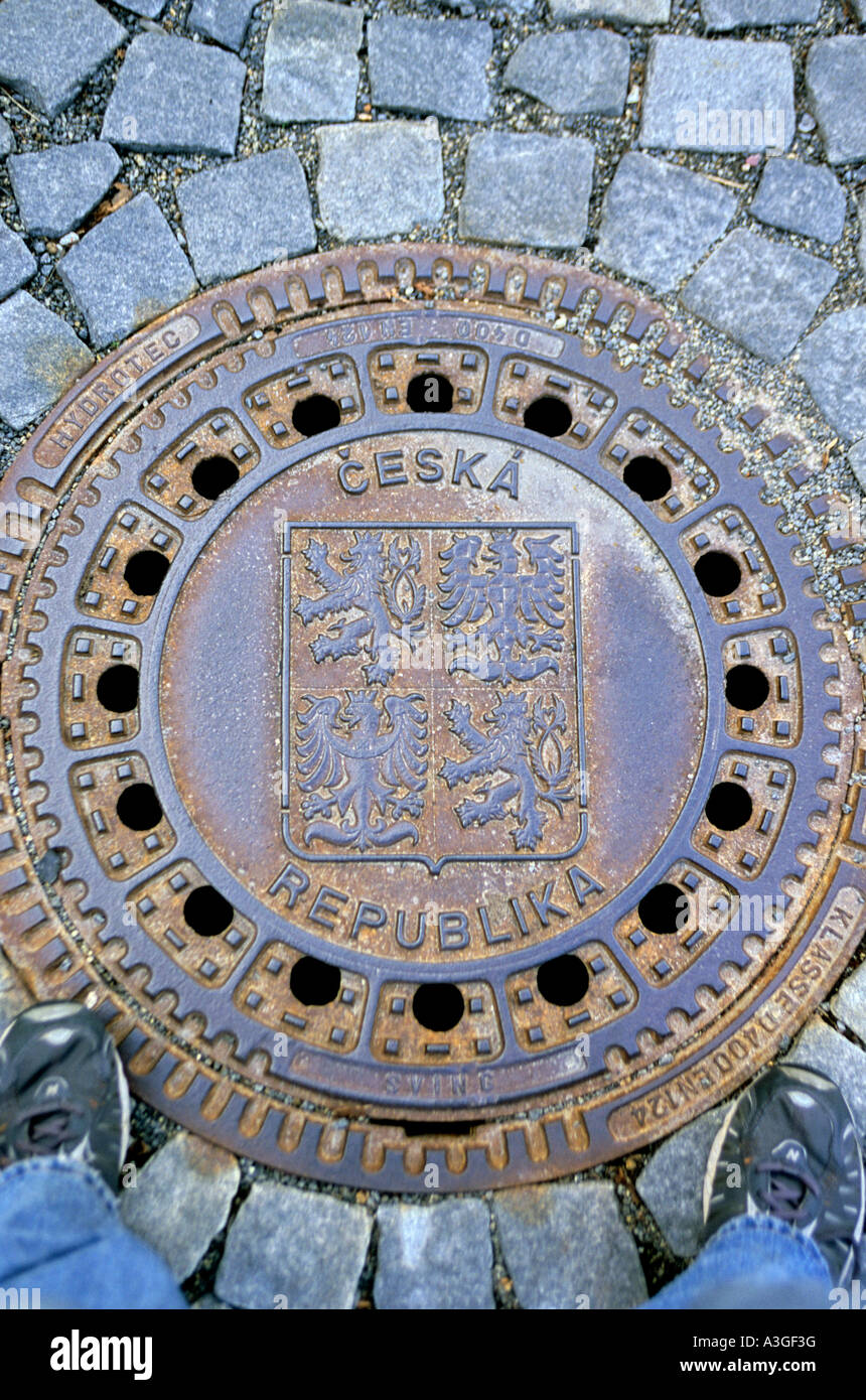 Drainage cover on street in the Stare Mesto neighborhood of the city of Tabor Czech Republic Stock Photo