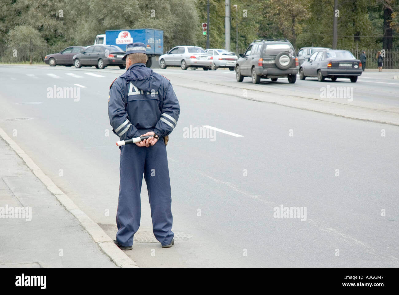 A traffic police officer in Saint Petersburg Russia - Stock Image