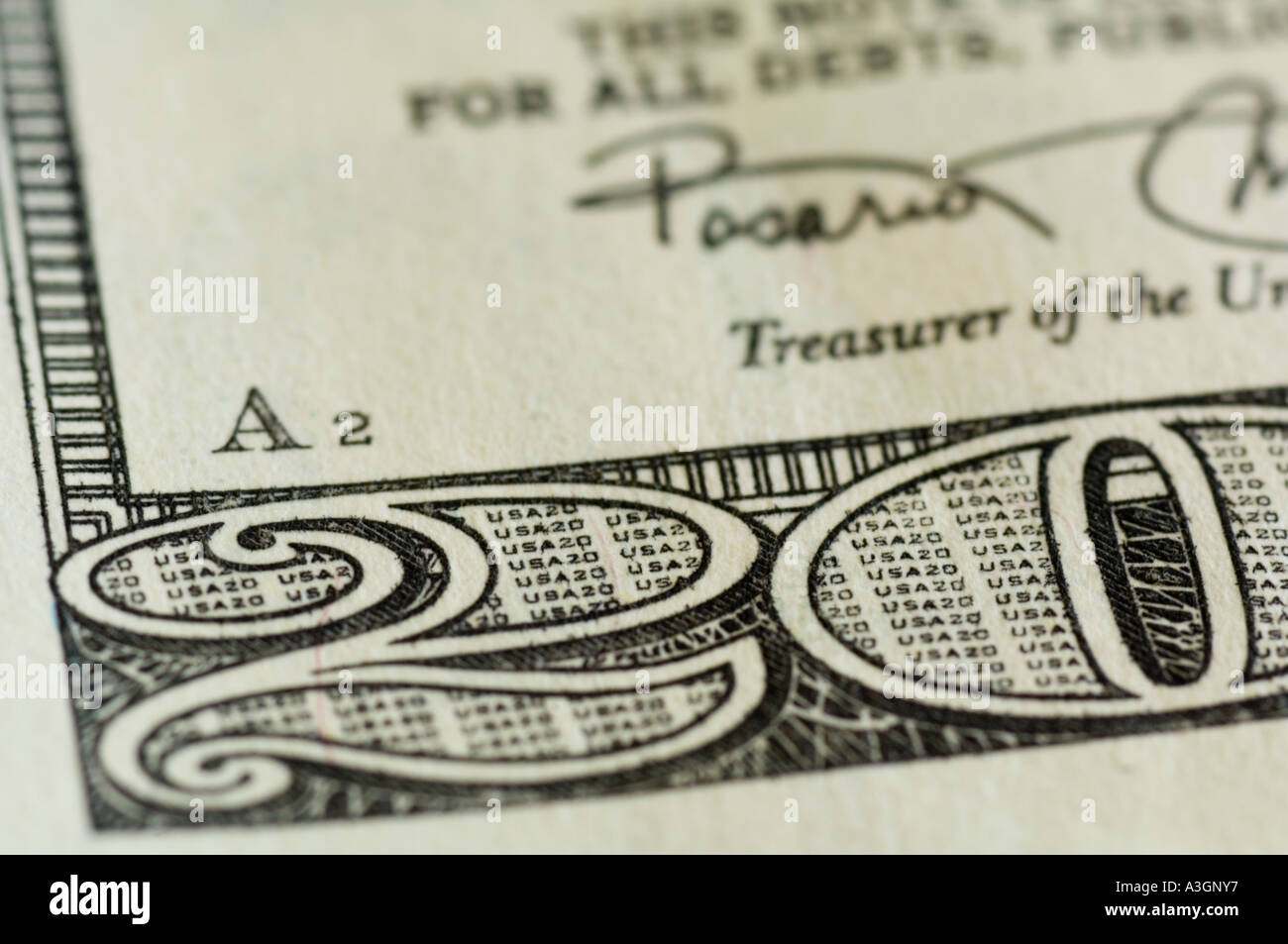 extreme closeup view of portion of a 20 dollar bill US - Stock Image