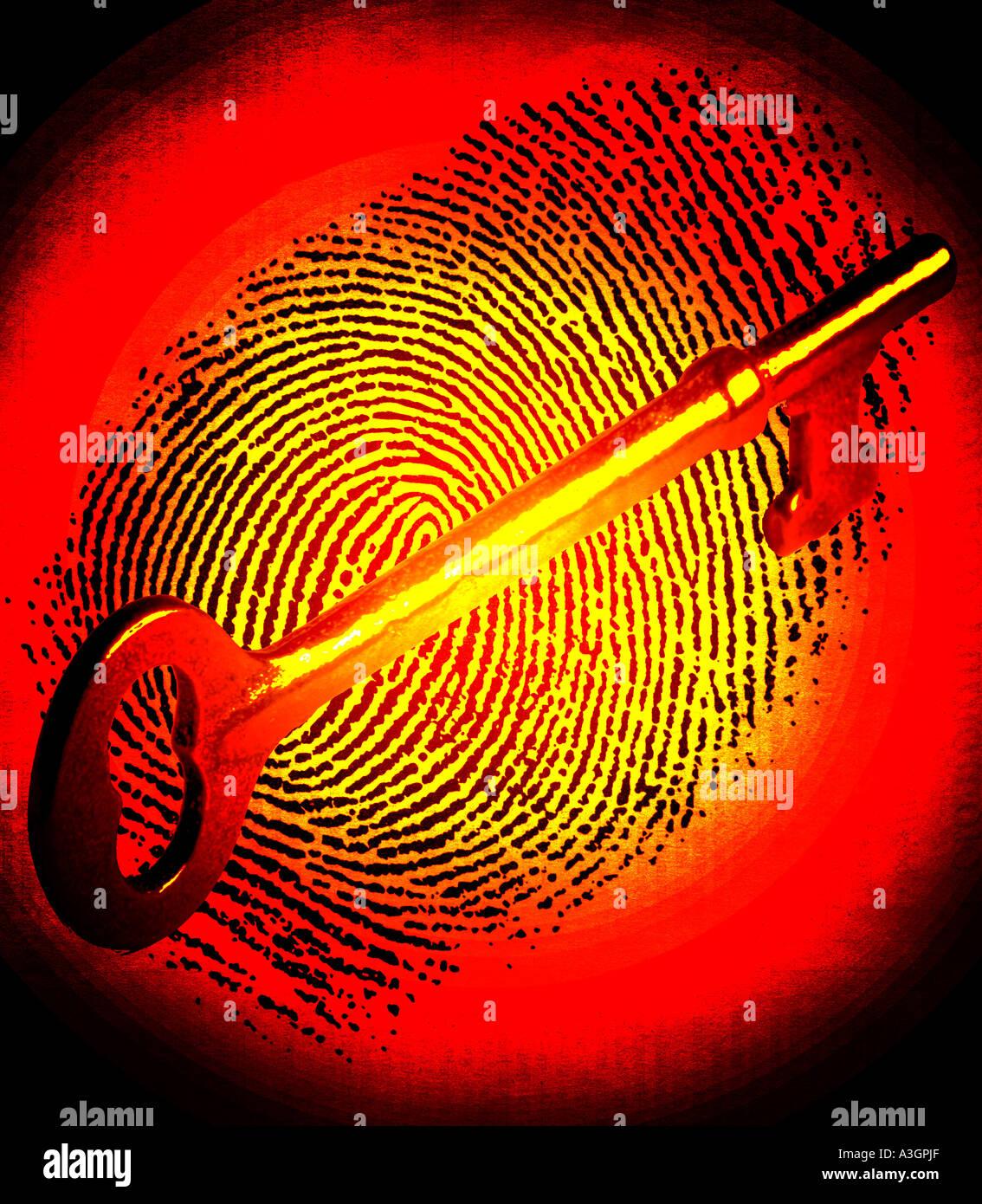 antique gold skeleton key on fingerprint - Stock Image
