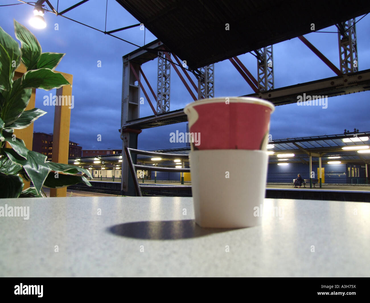 empty train station at night in chester britain england uk - Stock Image
