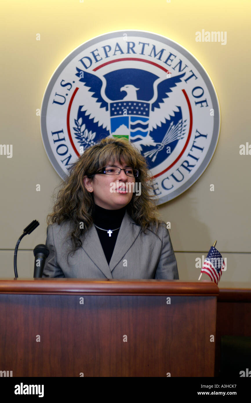 woman speaking at US Department of Homeland Security podium - Stock Image