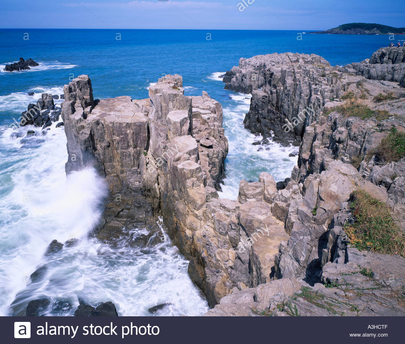 Tojinbo Mikuni Fukui Japan Sea Rocks Rough sea Stock Photo ...