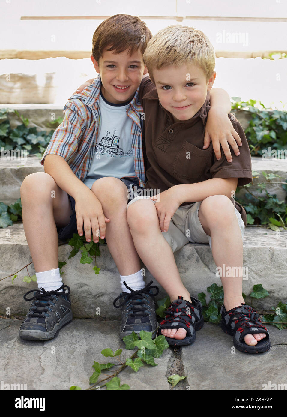 Portrait of Two Boys Stock Photo