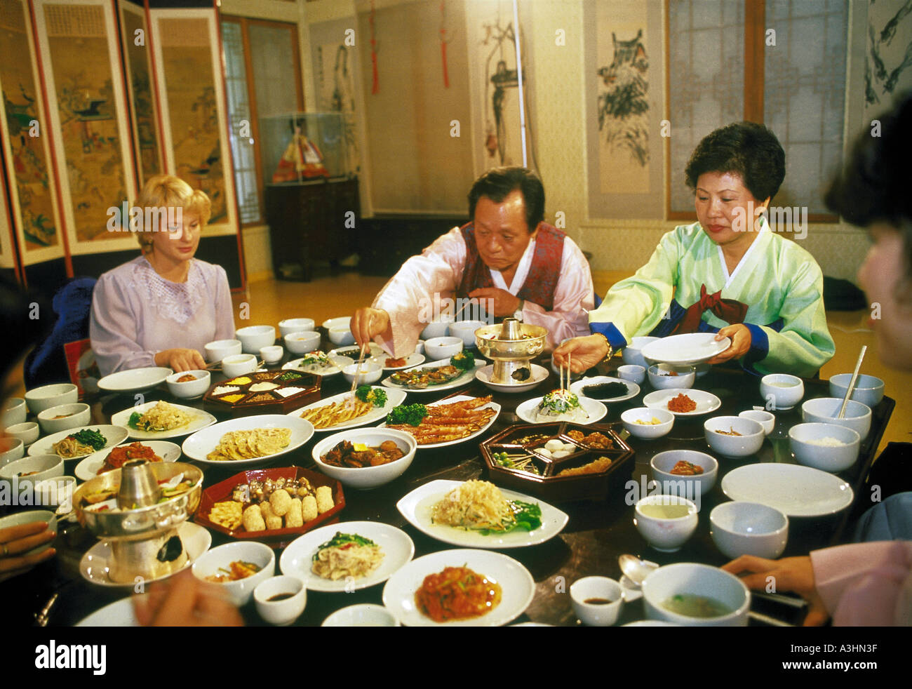 scared woman watching food korean restaurant city of taipeh taiwan editorial use only - Stock Image