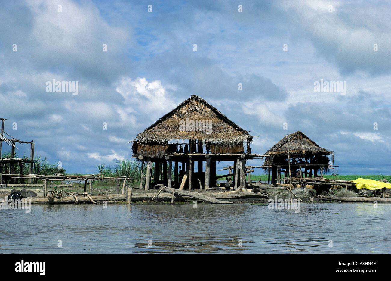dwelling houses near village of karau murik lake district province of sepik papua new guinea - Stock Image