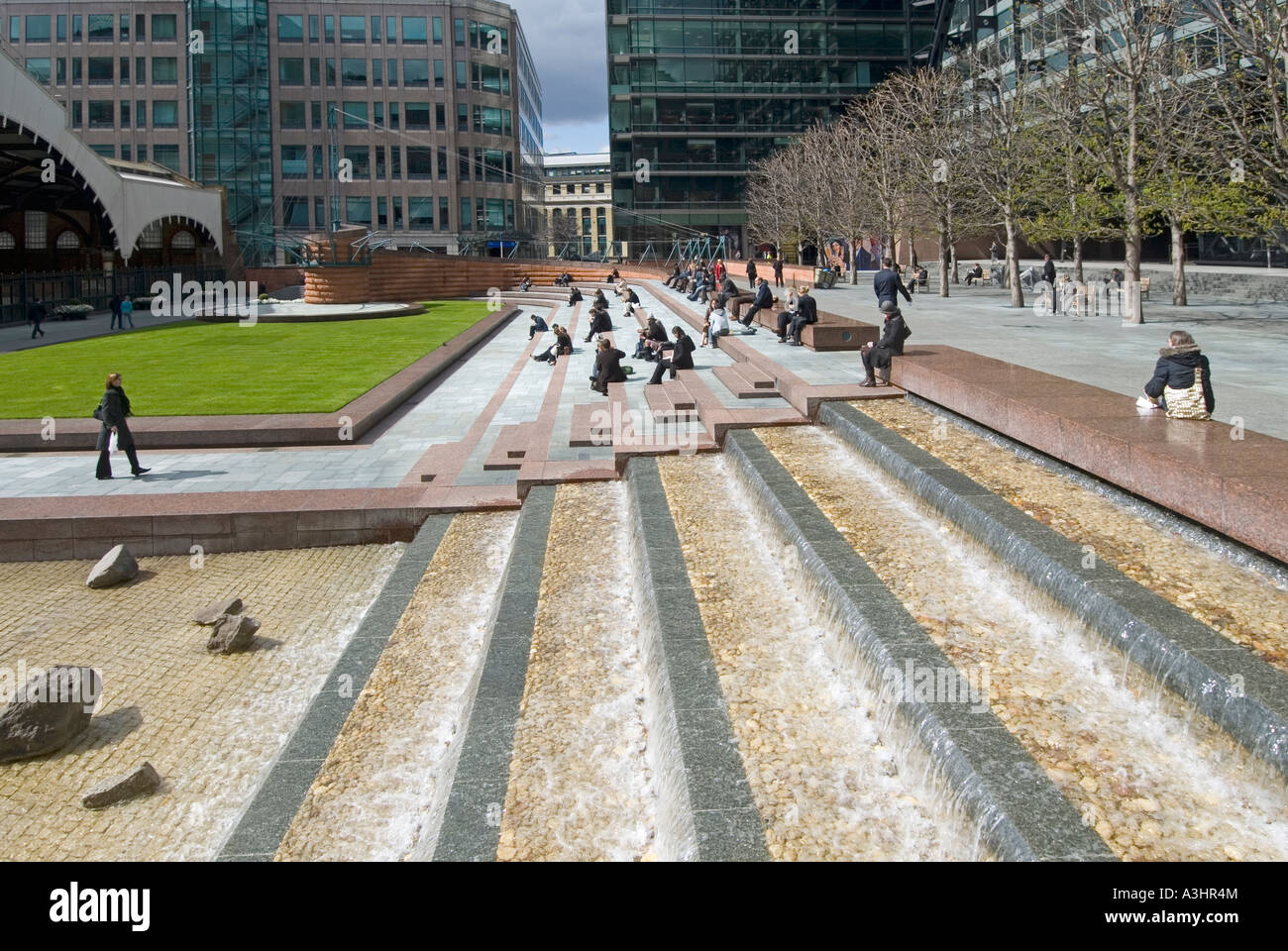 Urban Landscaping And Water Feature Around Modern Office Complex