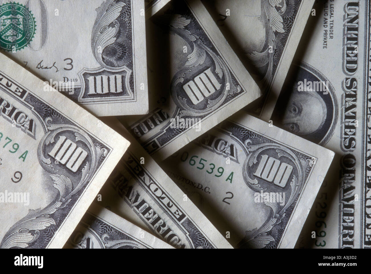 several 100 dollar bills US money - Stock Image