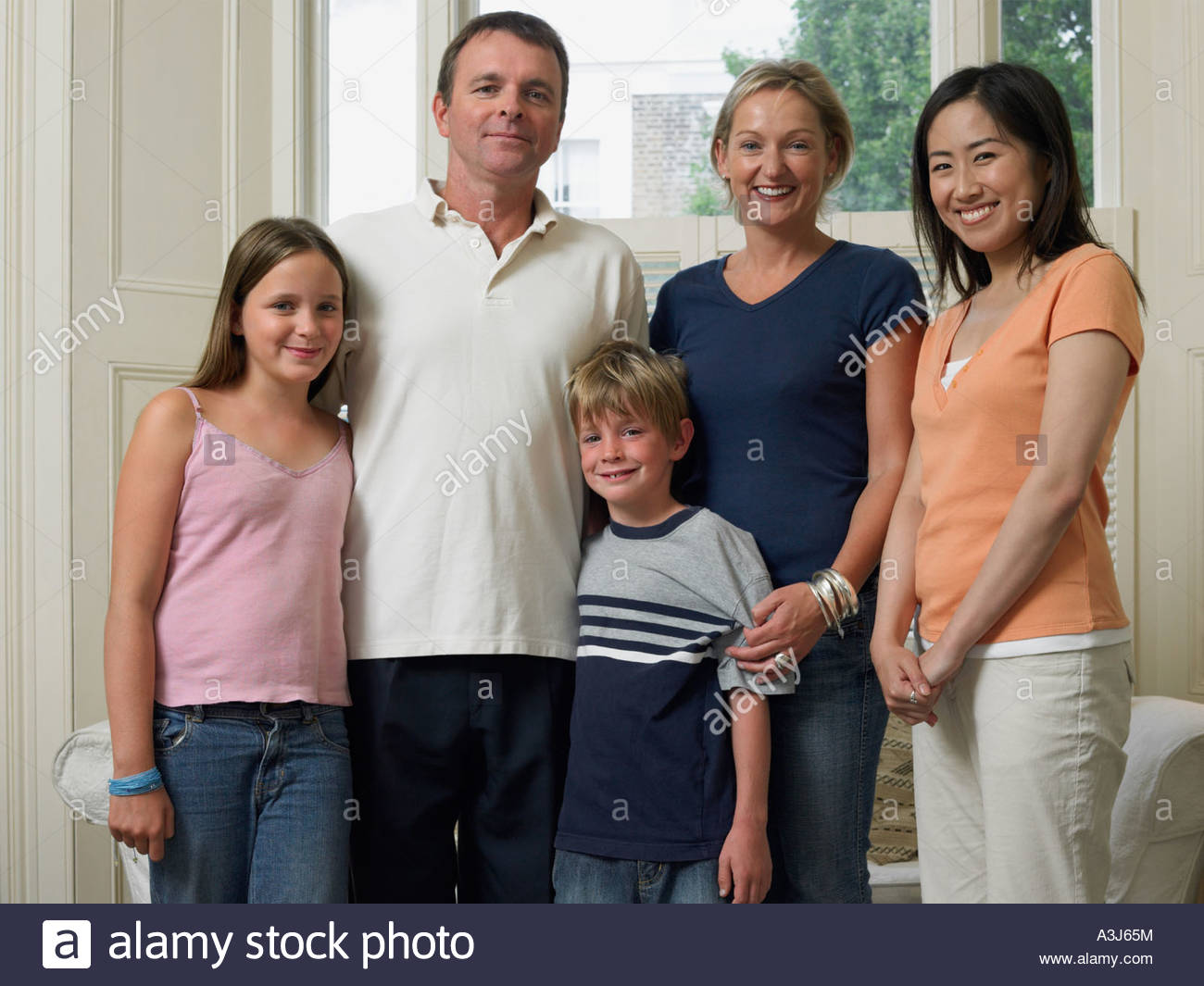 English family with japanese exchange student - Stock Image