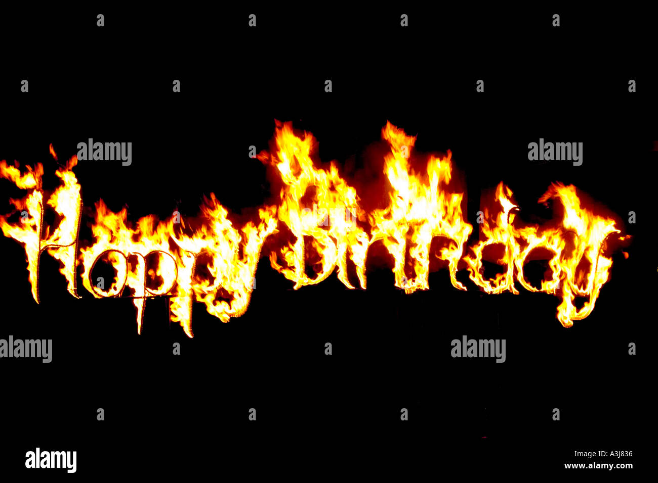 scripture made of fire happy birthday - Stock Image