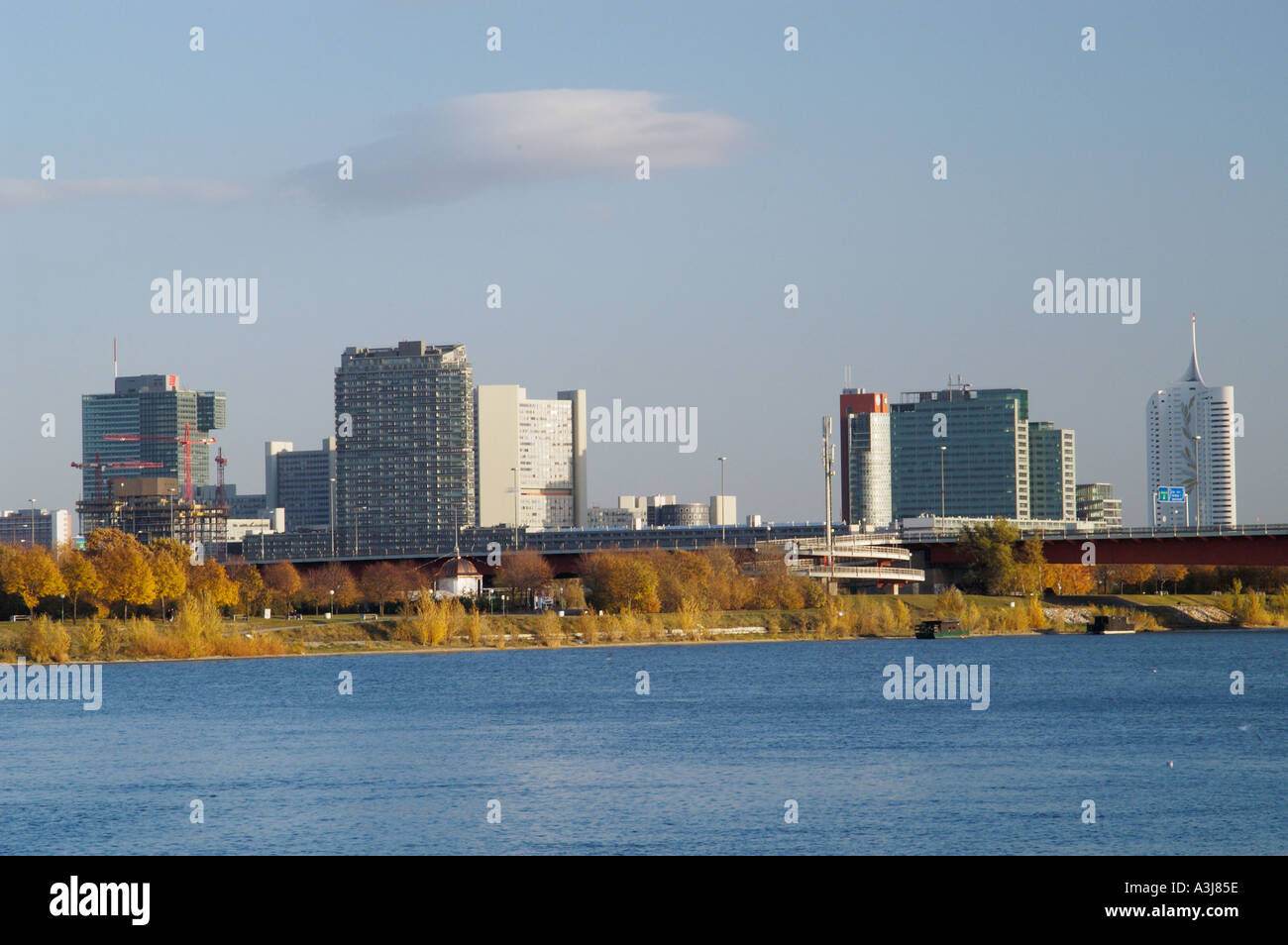 Ares Tower Uno City Danube Vienna Austria - Stock Image