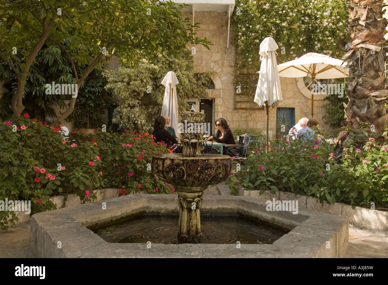 Inner courtyard of the American Colony hotel in East Jerusalem Israel - Stock Image
