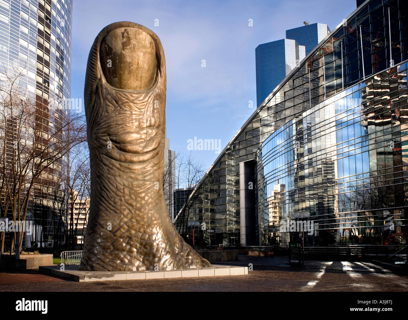 Giant Thumb Sculpture at La Defense, Paris, France - Stock Image