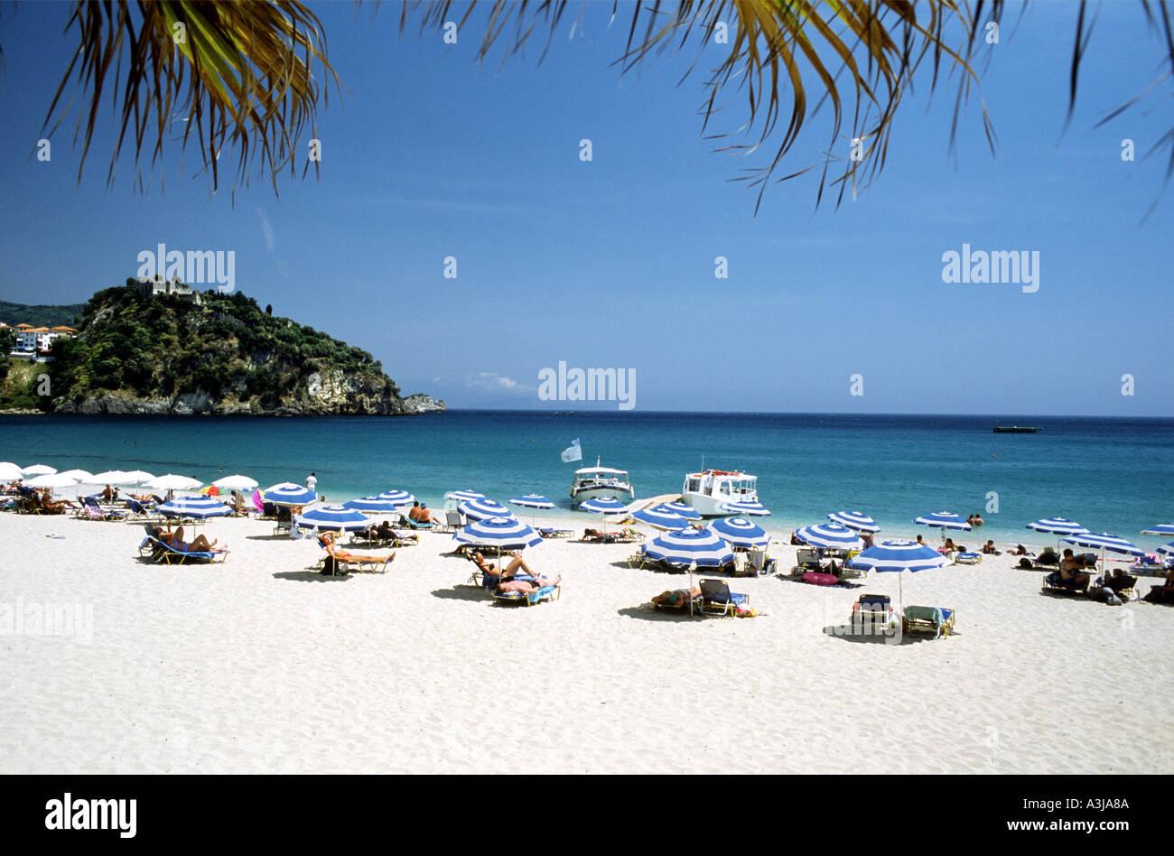 Subathing Valtos Beach Parga Greek Ionian Island Greece - Stock Image