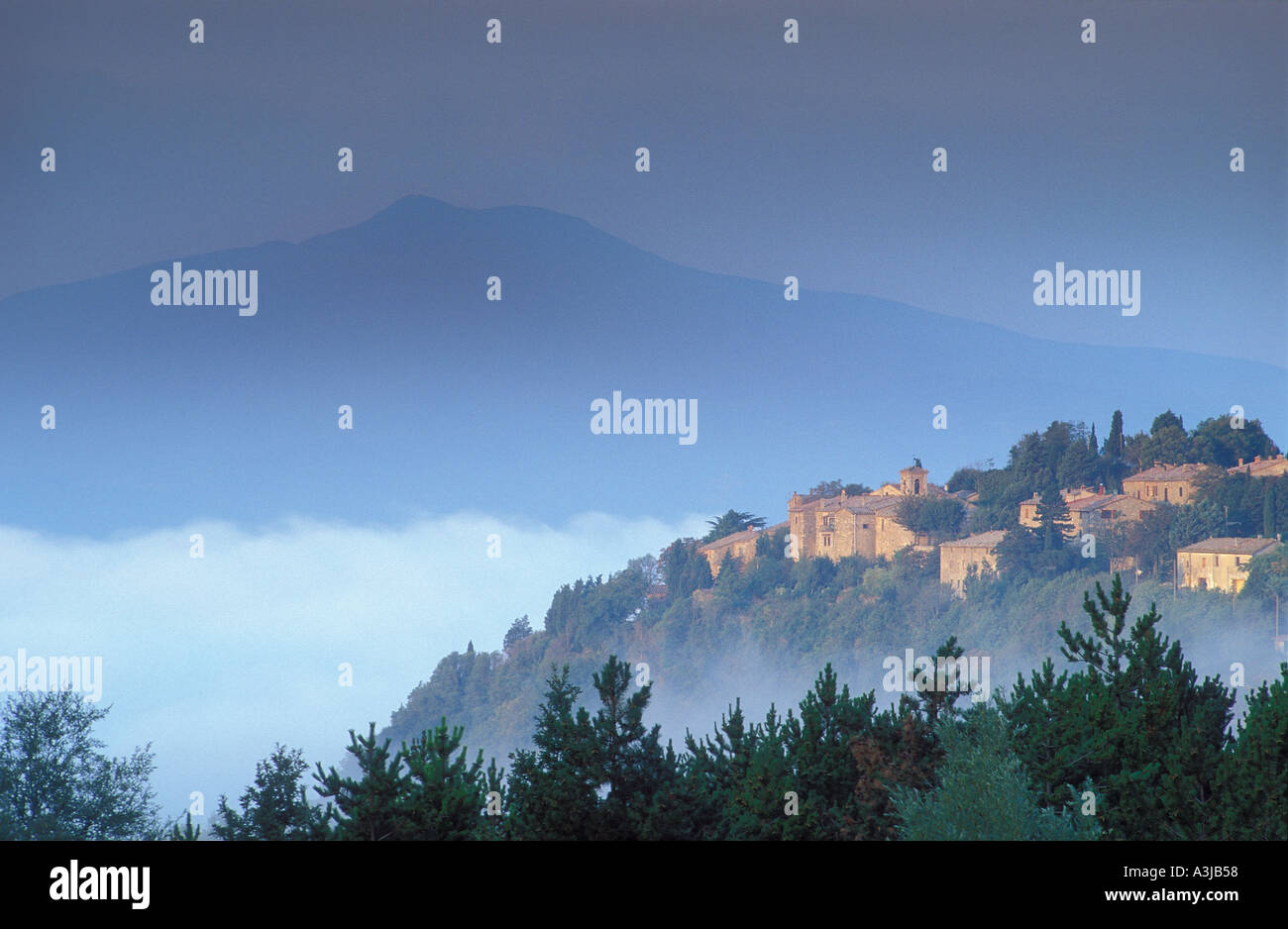 Mount Amiata and village Tuscany Italy Stock Photo