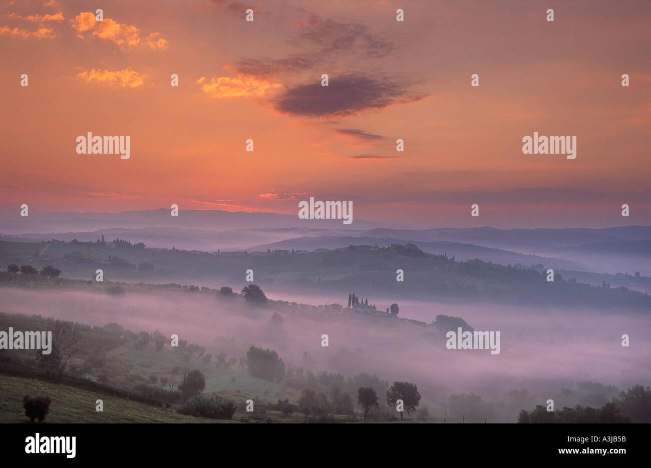 Tuscan dawn from Barberino Val d Elsa Chianti Tuscany Italy - Stock Image