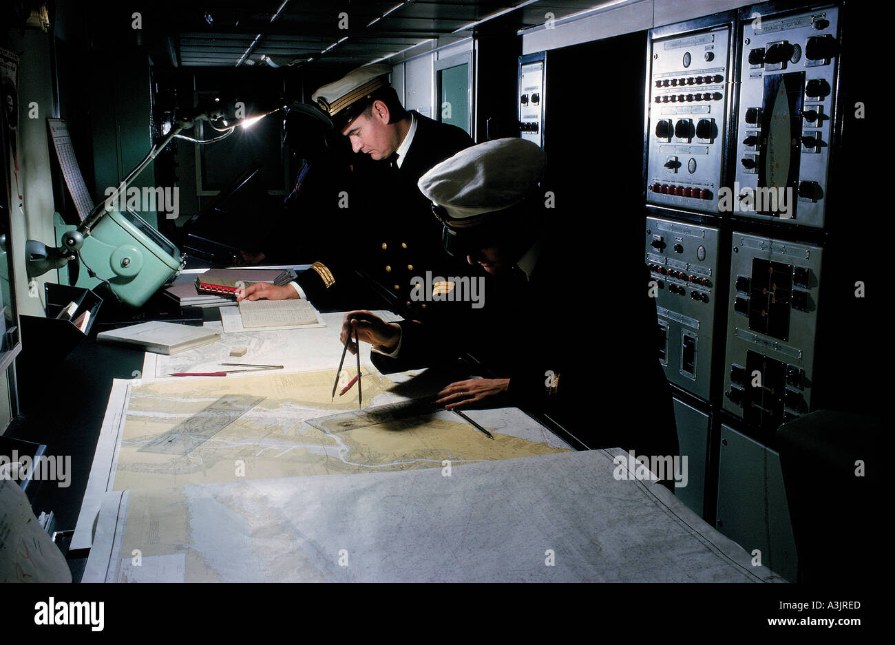navigation crew on ferry north sea germany editorial use only - Stock Image