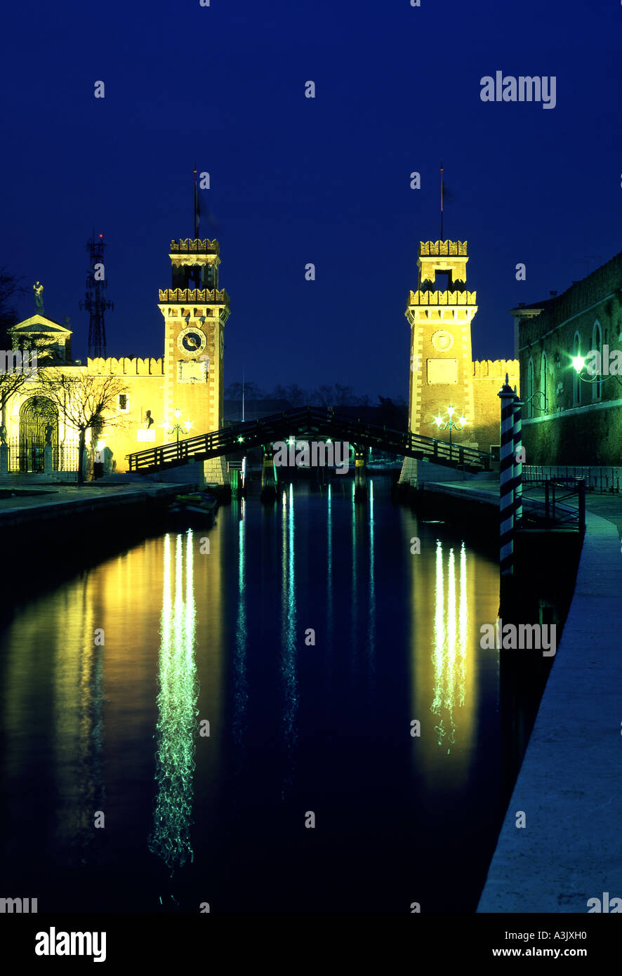 Arsenale gateway at night Castello Venice Veneto Italy - Stock Image