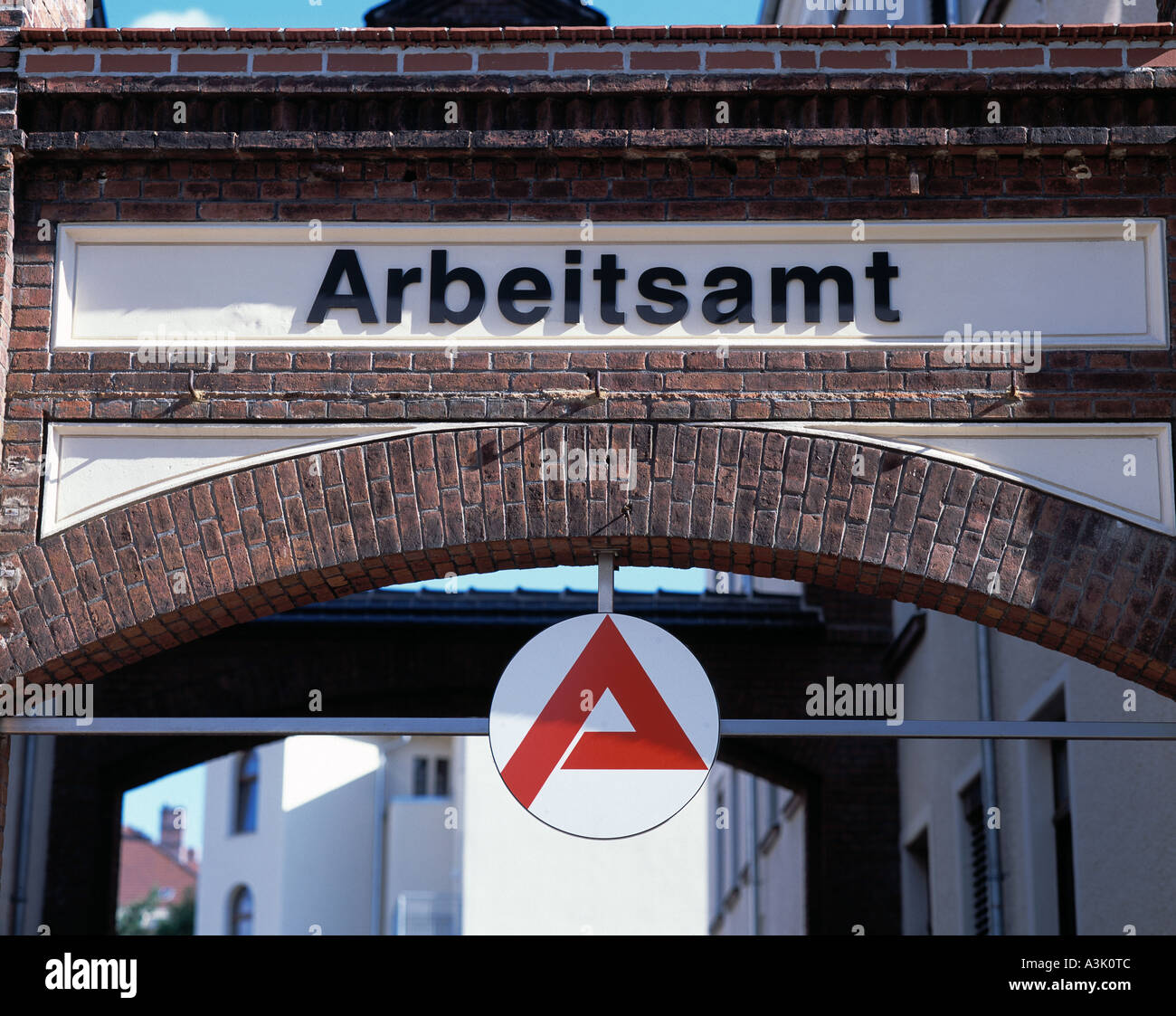 sign to an employment office at an archway in Goerlitz, D-Goerlitz, Lusatian Neisse, Upper Lusatia, Lower Silesia, Stock Photo