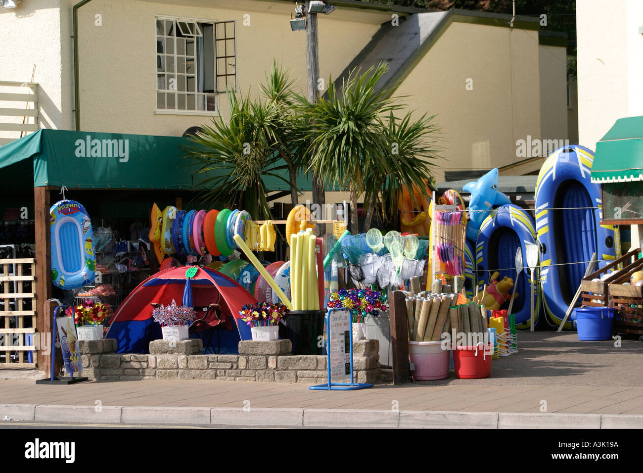 Beach goods on sale at seaside resort Exmouth Devon England UK Stock Photo