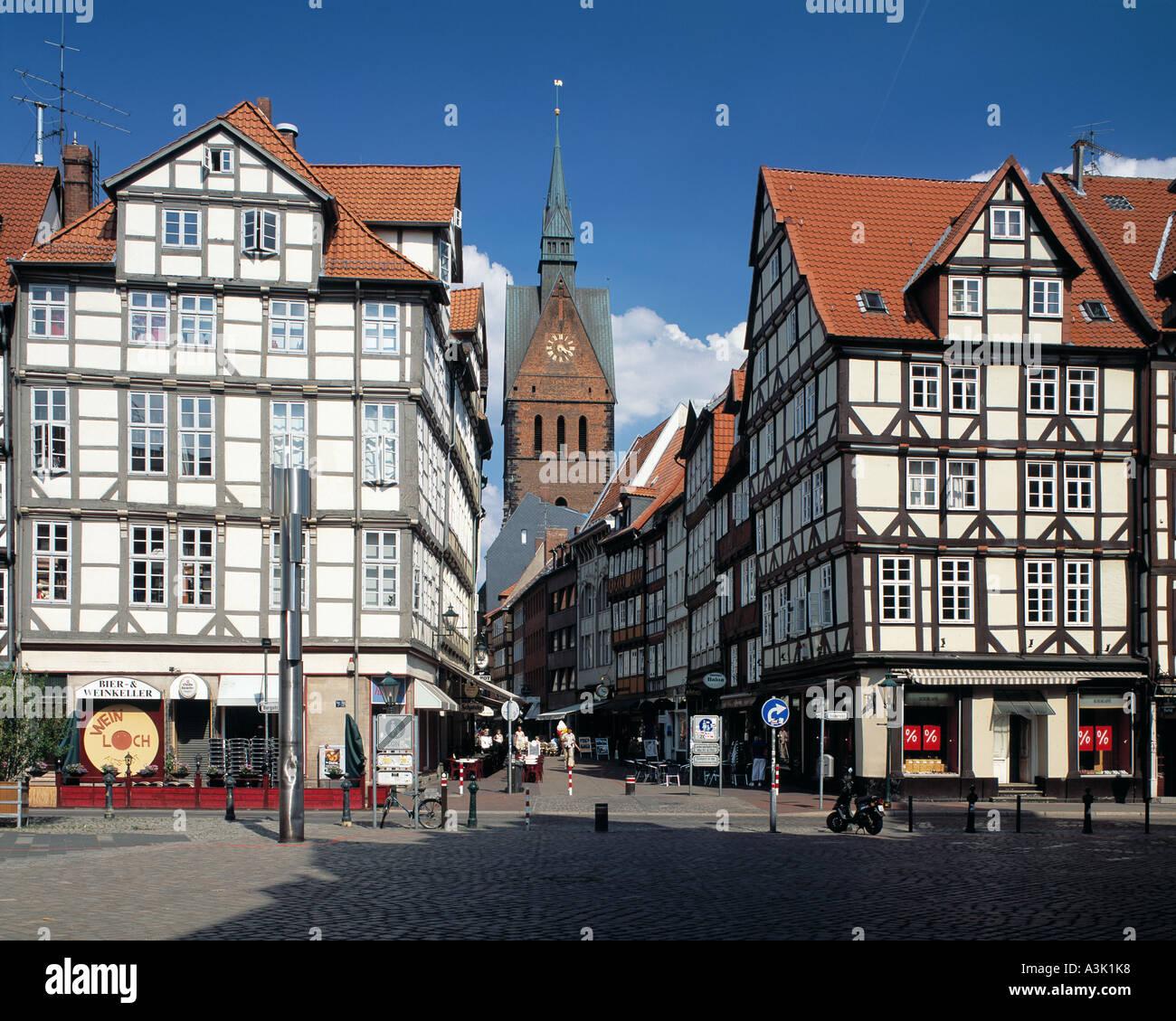 Marktkirche von Hannover und Fachwerkhaeuser am Holzmarkt, in der Burgstrasse und in der Kramerstrasse - Stock Image