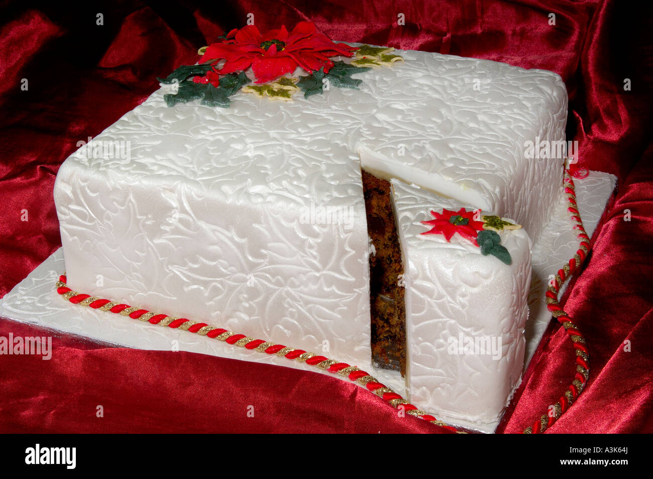Beautifully decorated iced Christmas fruit cake with embossed holly ...