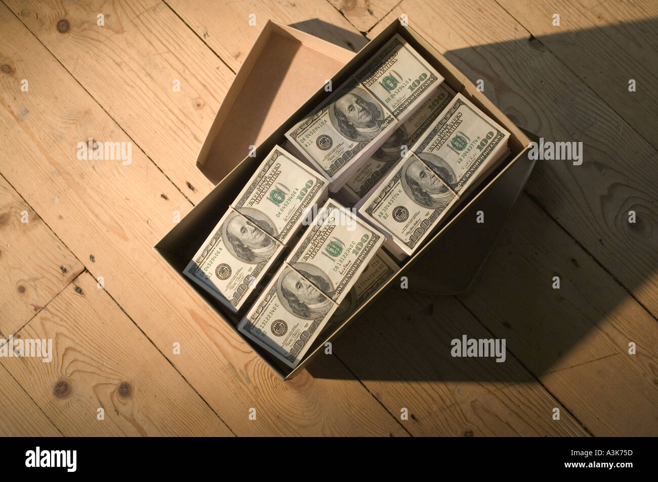 Shoebox Full Of Money.Stolen Cash Stock Photos Stolen Cash Stock Images Alamy