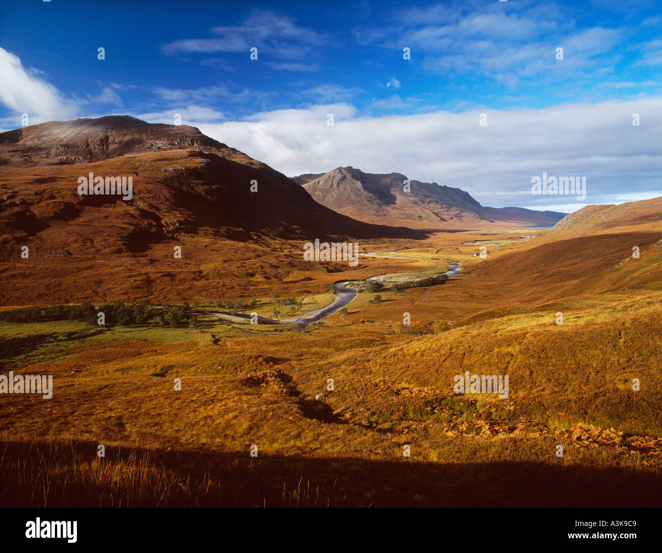 Strath na Sealga The Valley of Hunting at Shenavall Dundonnell Wester Ross Scottish Highlands - Stock Image