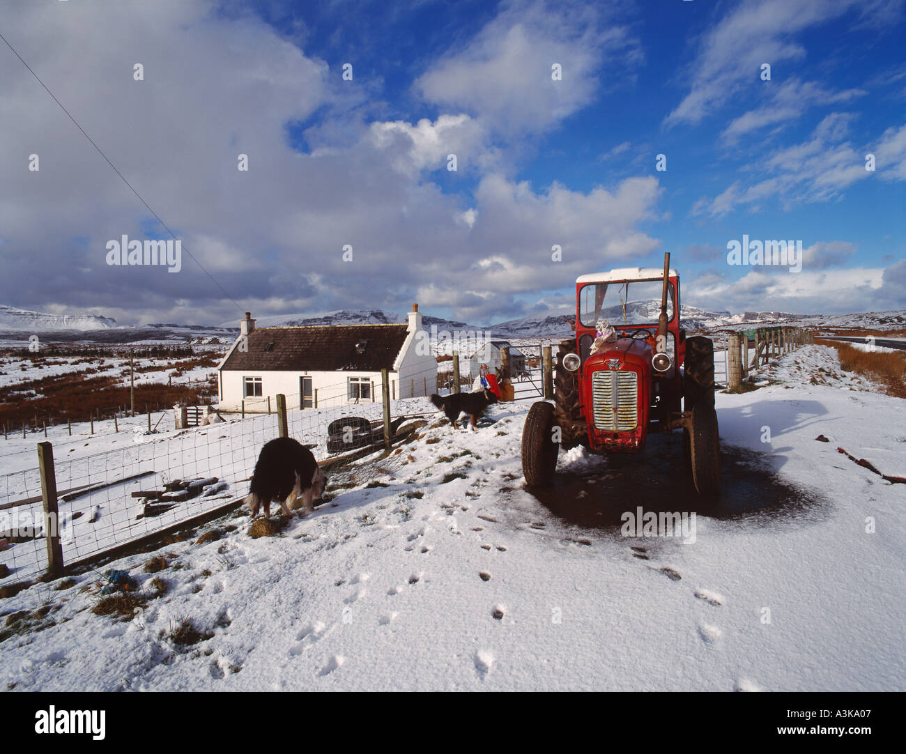 Croft house and red tractor at Valtos Trotternish Isle of Skye western Scotland - Stock Image
