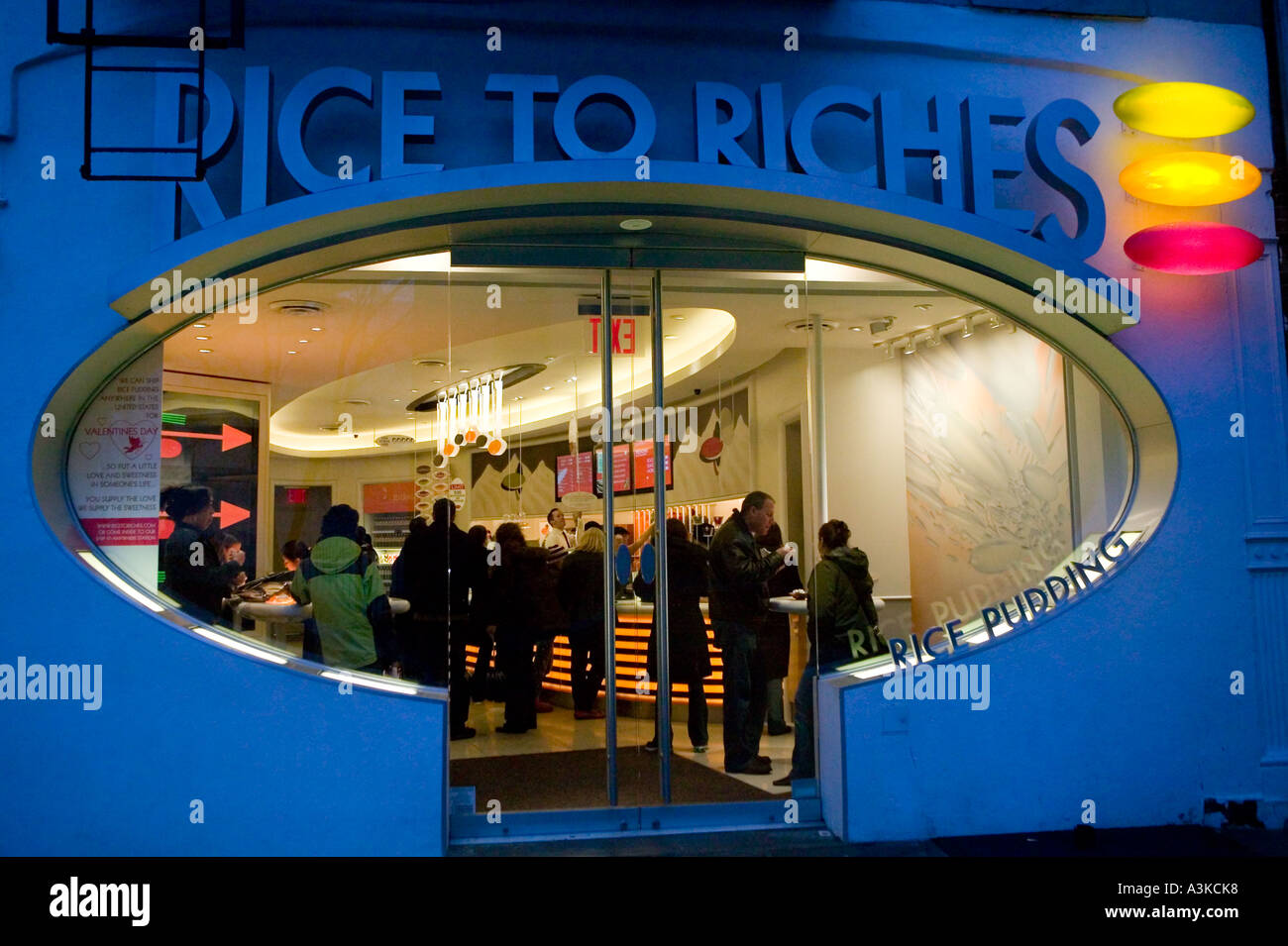 View of the rice pudding only restaurant Rice to Riches on Spring street in the NoLIta neighbourhood of New York City NY USA Jan - Stock Image