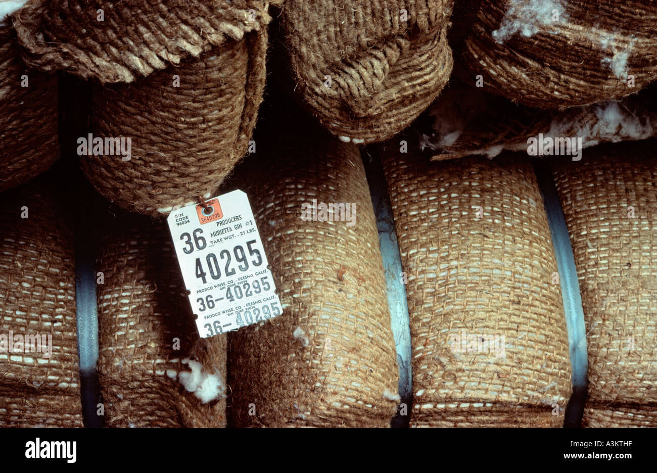 Bale of cotton in warehouse - Stock Image