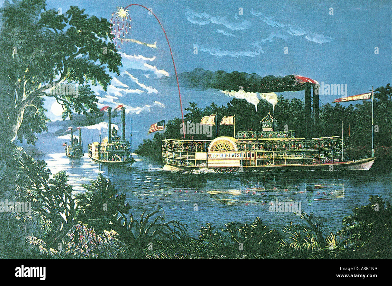 Lithograph of a midnight river boat race on the Mississippi river about 1866 - Stock Image