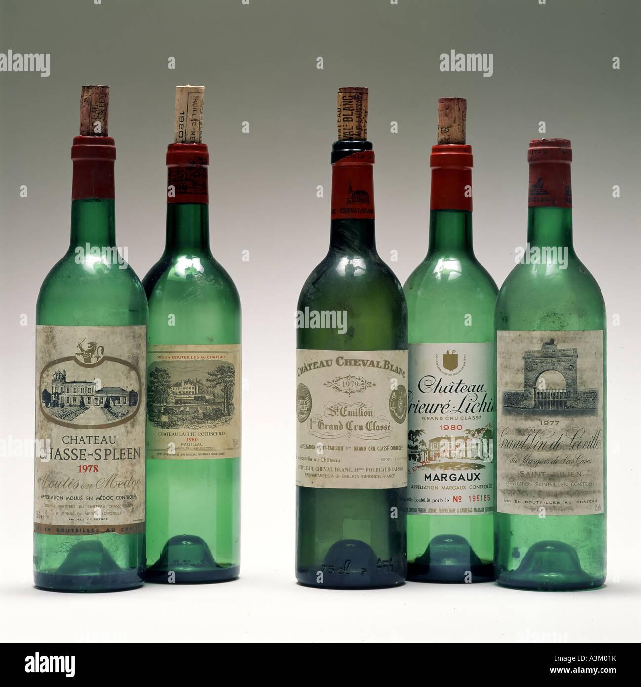 Empty bottles of Bordeaux Grand Cru Classé vintage red wines