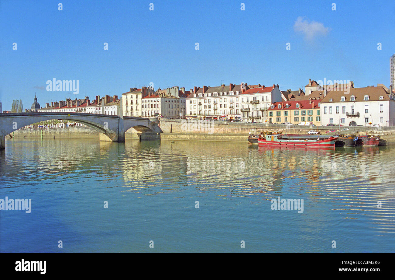 the river Saone at Chalon sur Saone Southern Burgundy France - Stock Image