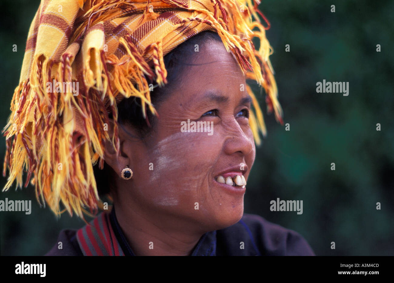 Burmese woman at market Kalaw town en route to Lake Inle Burma - Stock Image