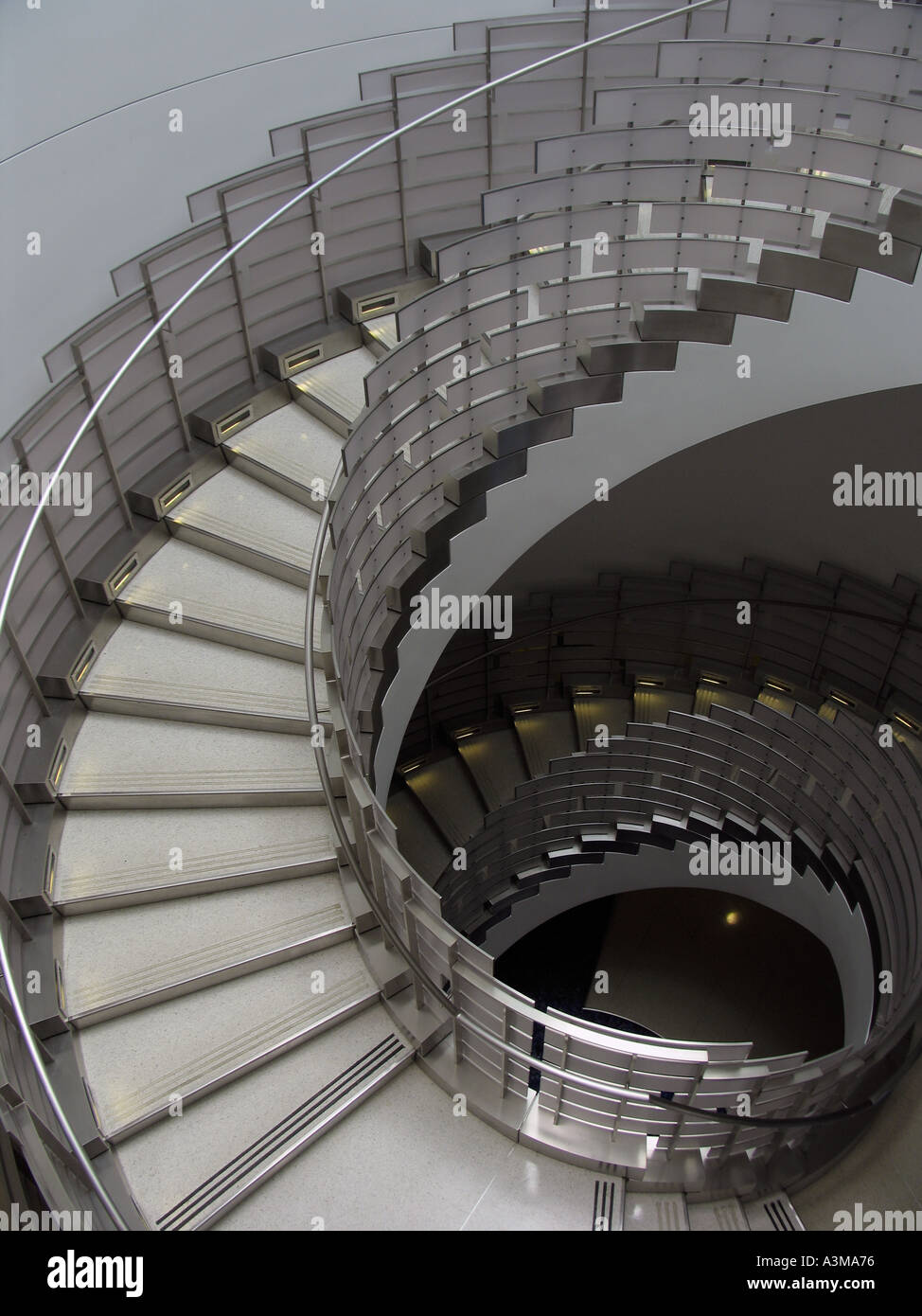 View From Above Of Circular Staircase In Hospital Stock Photo