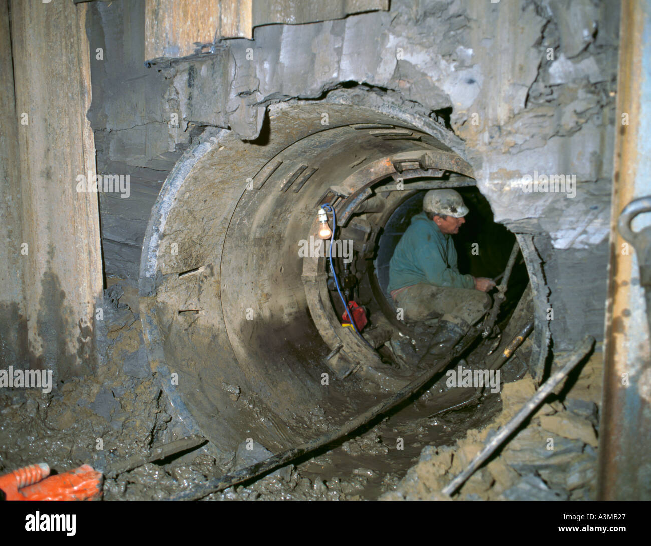 Breakthrough of mini tunnelling shield into reception pit, during construction of a sewer tunnel, Morpeth, Northumberland, - Stock Image