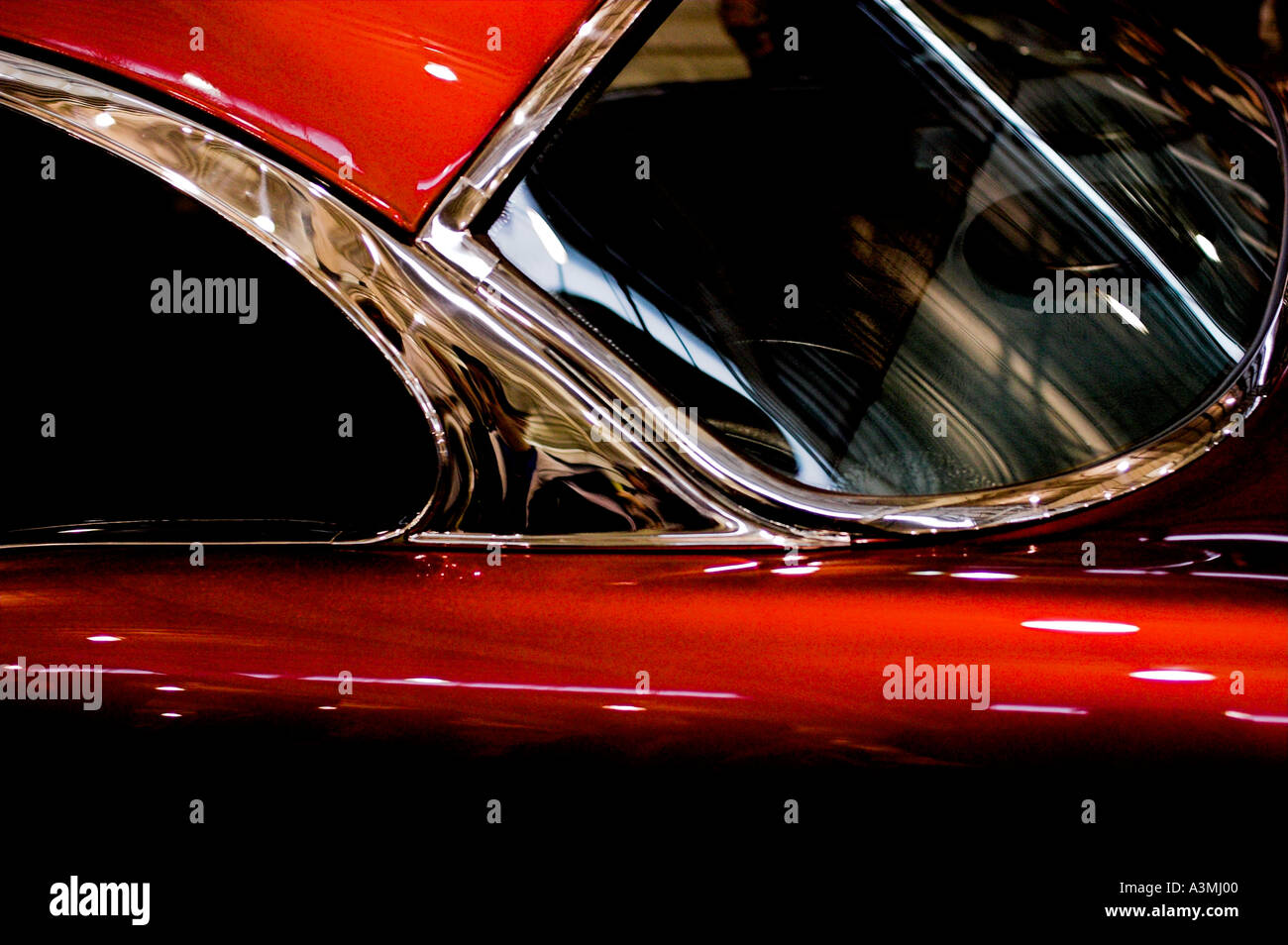 old collectible car show red shinny american usa - Stock Image