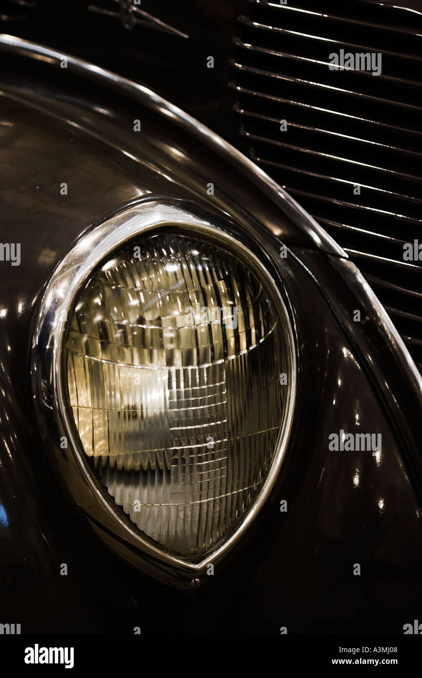 old collectible car show shinny american classic usa headlight - Stock Image