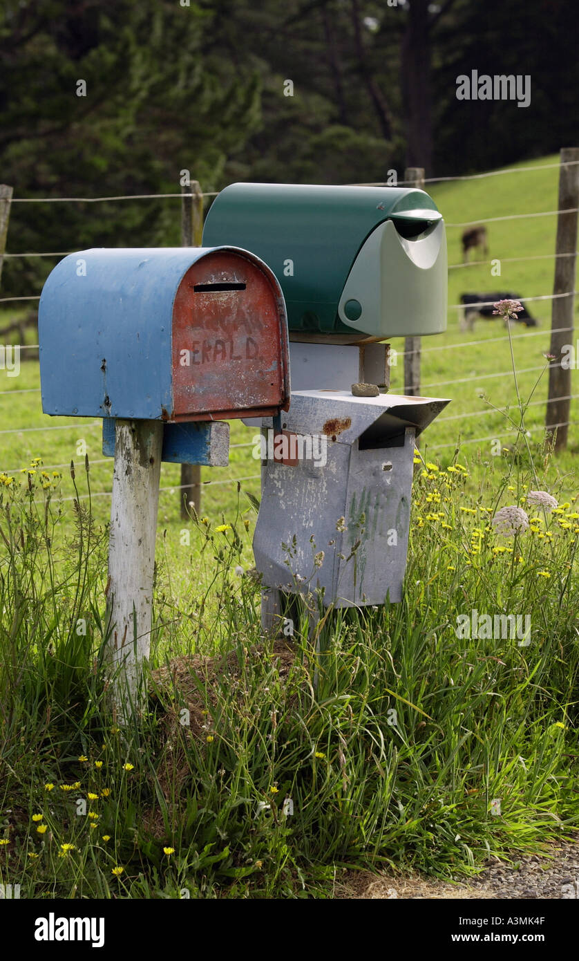 Pair of mailboxes North Island New Zealand Stock Photo