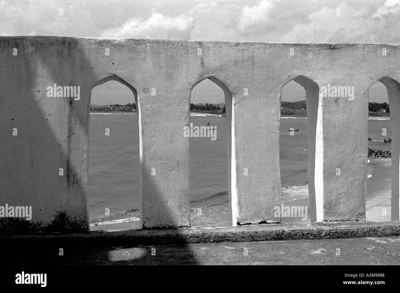 Arches of a slave fort on the Cape Coast of Ghana West Africa - Stock Image