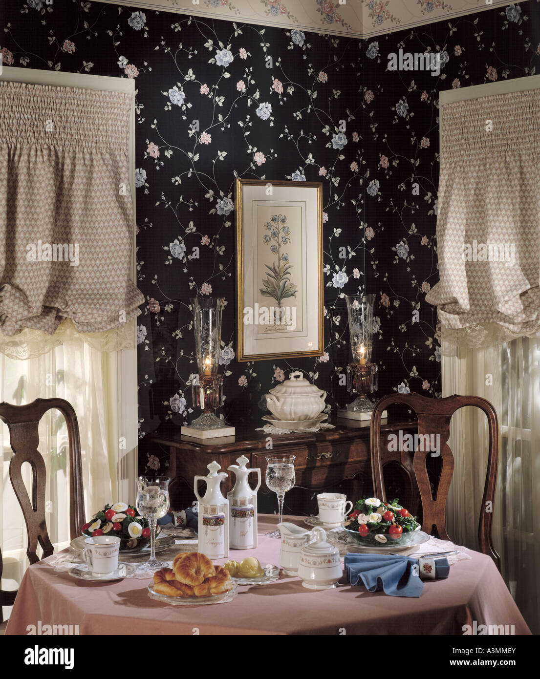 formal dining room table chairs wall wallpaper drapes 2 two bentwood ...