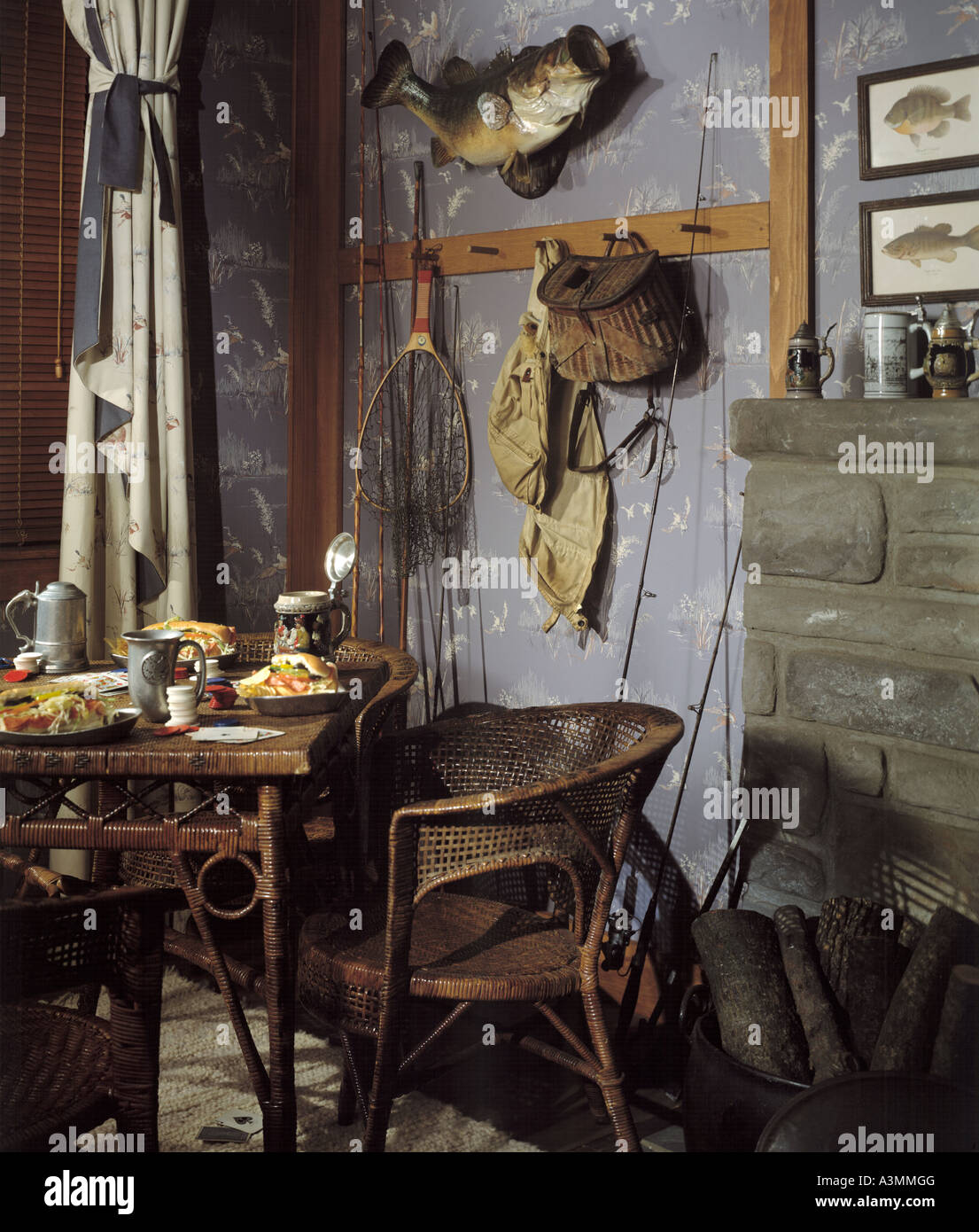 living room stone firplace sportsman fisherman antiquewall wallpaper