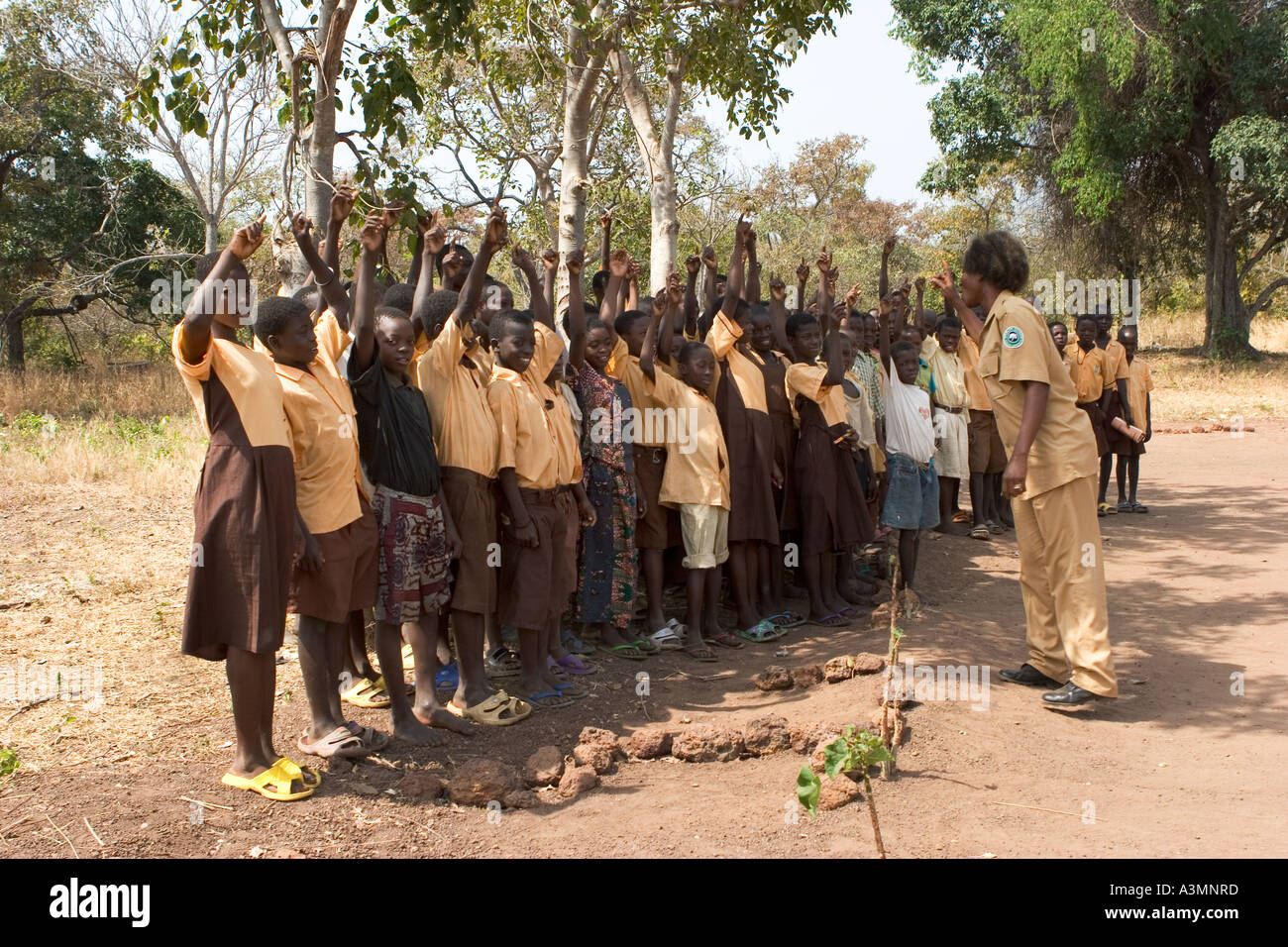 Mixed group of  school pupils assembled for nature class, Murugu Village,  Northern Ghana - Stock Image