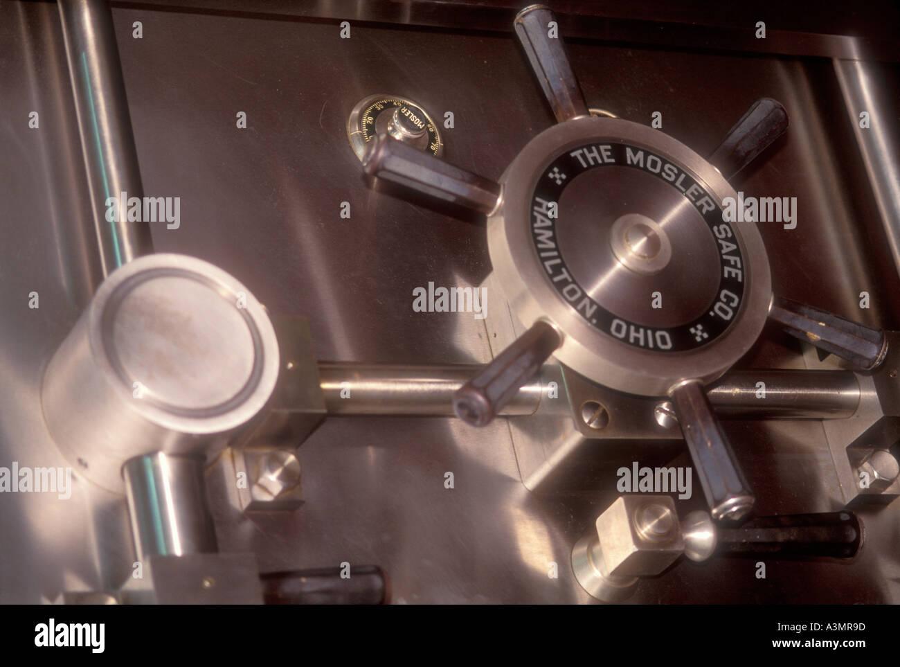 large metal vault door in bank - Stock Image
