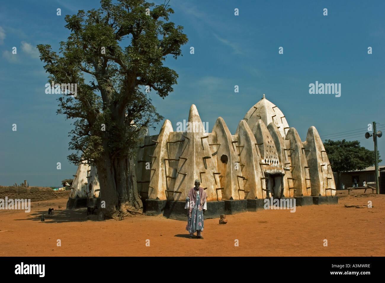 Imam outside Larabanga Mosque Larabanga Village Ghana West Africa - Stock Image