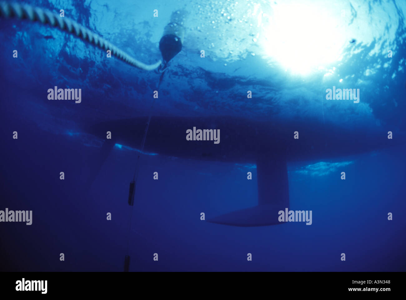 Underwater view of racing rounding mark - Stock Image