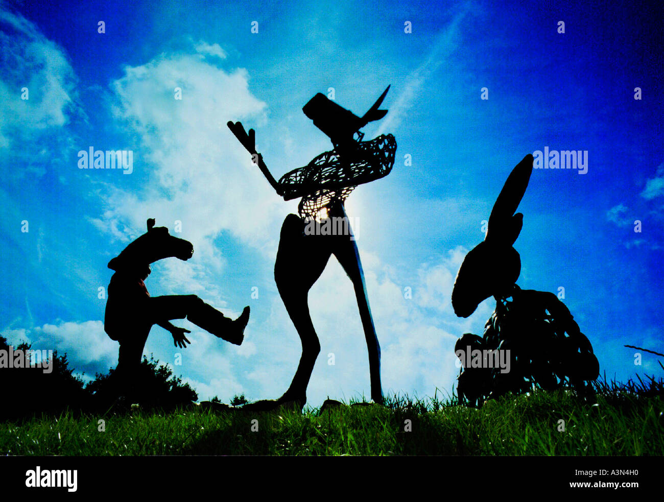A camel a minotaur and a donkey created from recycled metal for a festival of animated theatre - Stock Image