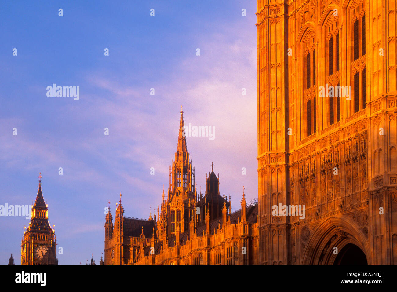 Europe England United Kingdom UK The Houses of Parliament and Big Ben at Dusk Sandra Baker Stock Photo